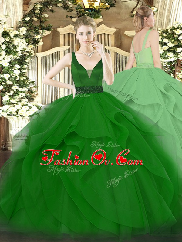 Custom Fit Dark Green Tulle Zipper Straps Sleeveless Floor Length Quinceanera Gown Beading and Ruffles