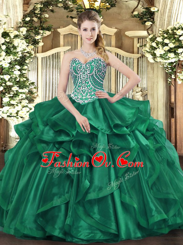 Organza Sweetheart Sleeveless Lace Up Beading and Ruffles Sweet 16 Quinceanera Dress in Dark Green