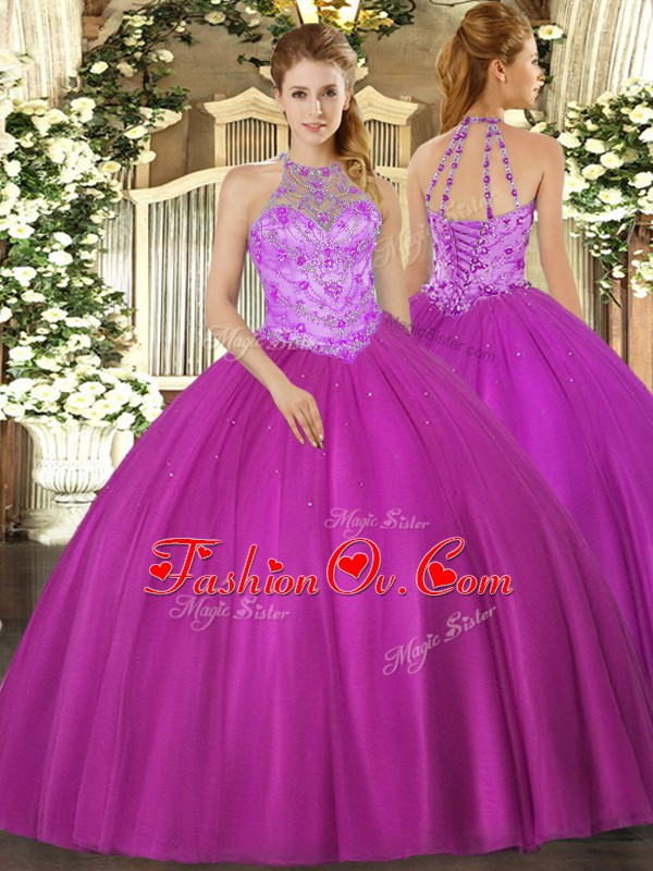 Artistic Fuchsia Lace Up Halter Top Beading Quinceanera Dress Satin Sleeveless