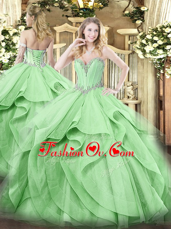 Exquisite Green Sweet 16 Dresses Military Ball and Sweet 16 and Quinceanera with Beading and Ruffles Sweetheart Sleeveless Lace Up