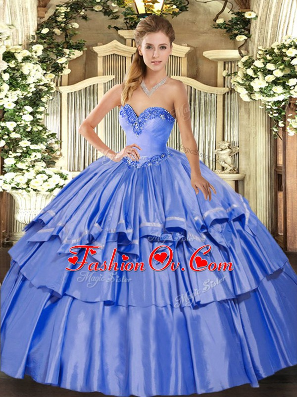 Top Selling Blue Ball Gowns Beading and Ruffled Layers Sweet 16 Dress Lace Up Organza and Taffeta Sleeveless Floor Length