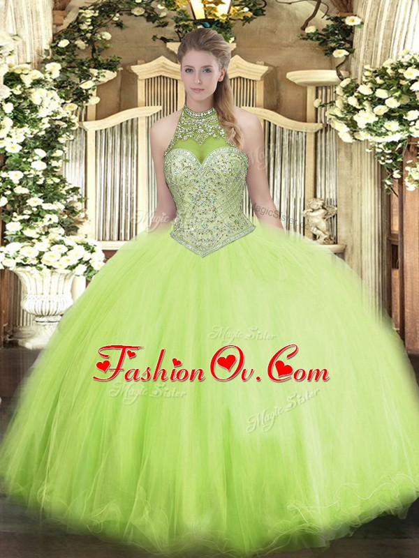 Sleeveless Tulle Floor Length Lace Up Quinceanera Dresses in Yellow Green with Beading