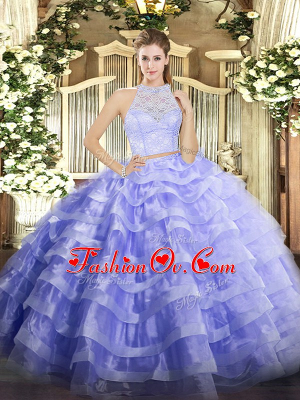 Great Lavender Sleeveless Lace and Ruffled Layers Floor Length Quince Ball Gowns