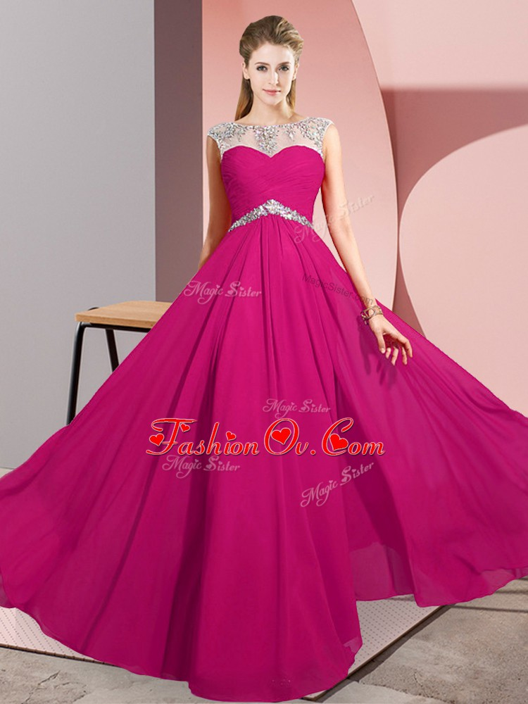 Floor Length Fuchsia Prom Dress Chiffon Sleeveless Beading