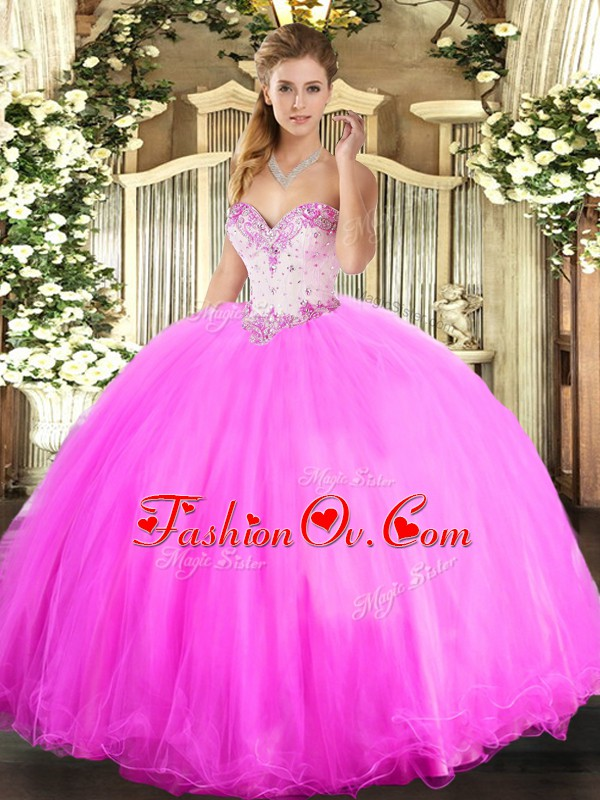 Fashion Floor Length Ball Gowns Sleeveless Rose Pink Quinceanera Dress Lace Up