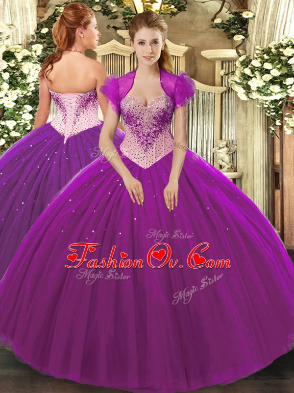 Eggplant Purple Tulle Lace Up Sweetheart Sleeveless Floor Length Vestidos de Quinceanera Beading