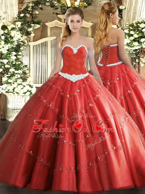 Eye-catching Sleeveless Lace Up Floor Length Appliques Sweet 16 Quinceanera Dress