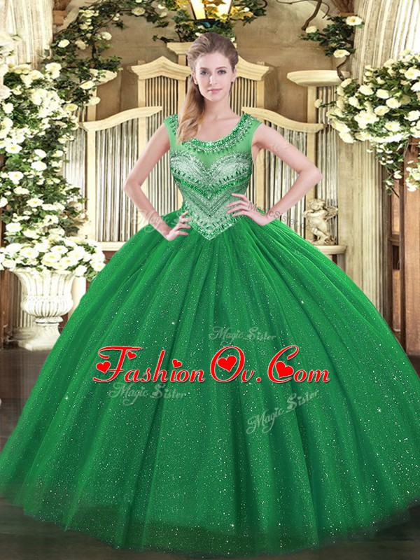 Floor Length Lace Up Ball Gown Prom Dress Dark Green for Sweet 16 and Quinceanera with Beading and Sequins