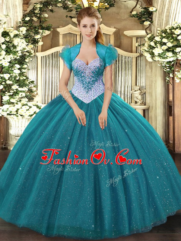 Custom Designed Teal Lace Up Sweetheart Beading and Sequins Quince Ball Gowns Tulle Sleeveless