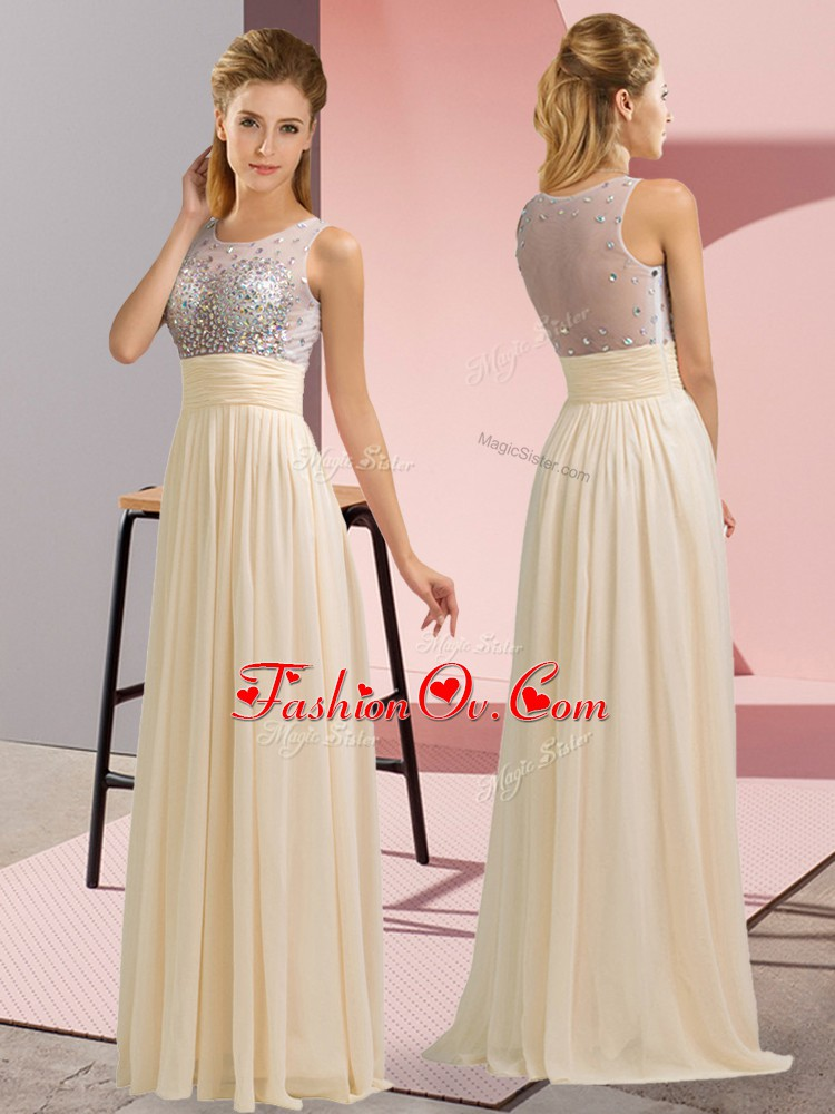 Affordable Champagne Scoop Neckline Beading Prom Party Dress Sleeveless Side Zipper