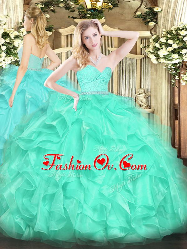 Unique Sleeveless Floor Length Beading and Lace and Ruffles Zipper Sweet 16 Dress with Turquoise