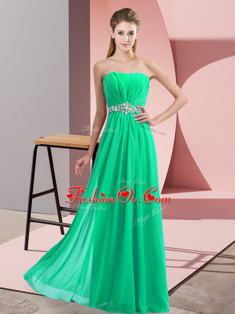 Elegant Turquoise Strapless Neckline Beading Homecoming Dress Sleeveless Lace Up