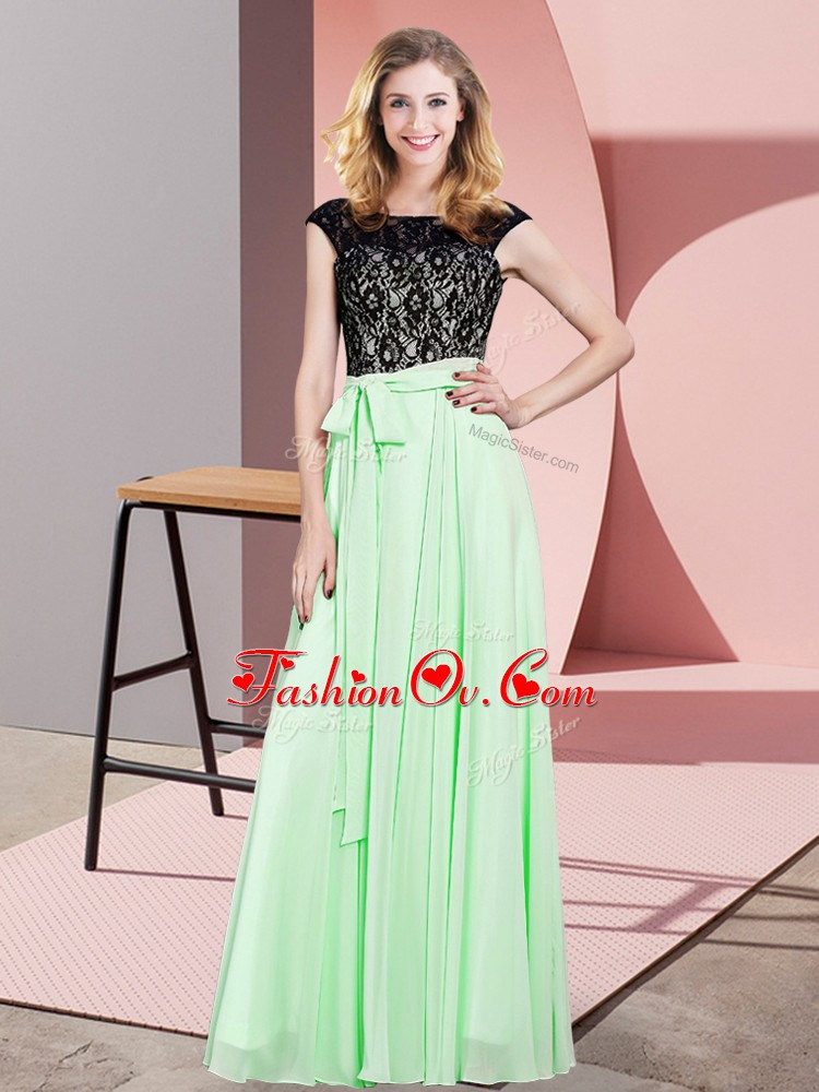 Extravagant Apple Green Sleeveless Floor Length Lace and Belt Lace Up Prom Party Dress