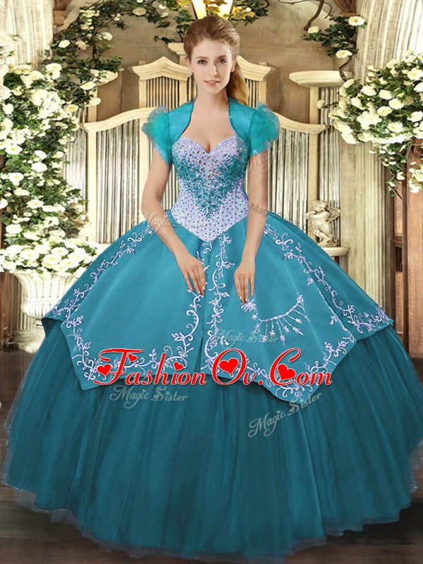 Sweetheart Sleeveless Lace Up Ball Gown Prom Dress Teal Satin and Tulle