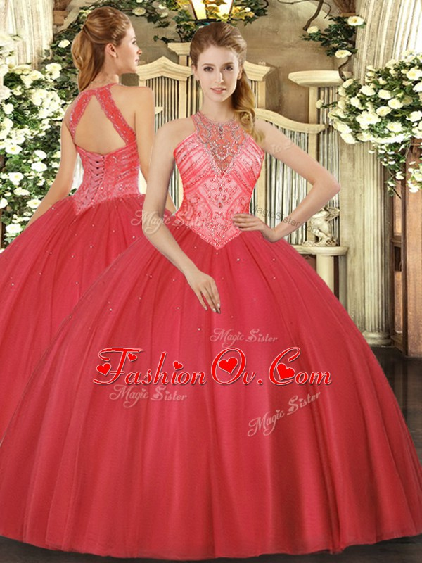 Free and Easy Red High-neck Neckline Beading Quinceanera Gowns Sleeveless Lace Up
