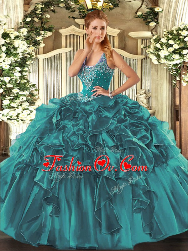 Comfortable Floor Length Lace Up Sweet 16 Dress Teal for Military Ball and Sweet 16 and Quinceanera with Beading and Ruffles