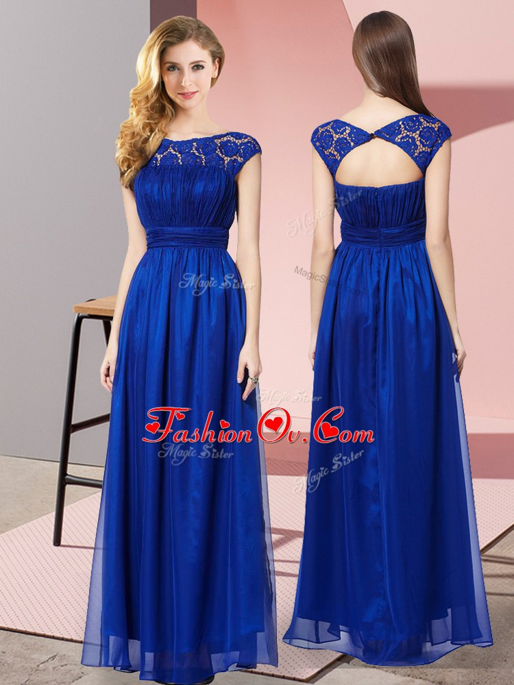 Artistic Royal Blue Scoop Neckline Lace Prom Dress Sleeveless Zipper