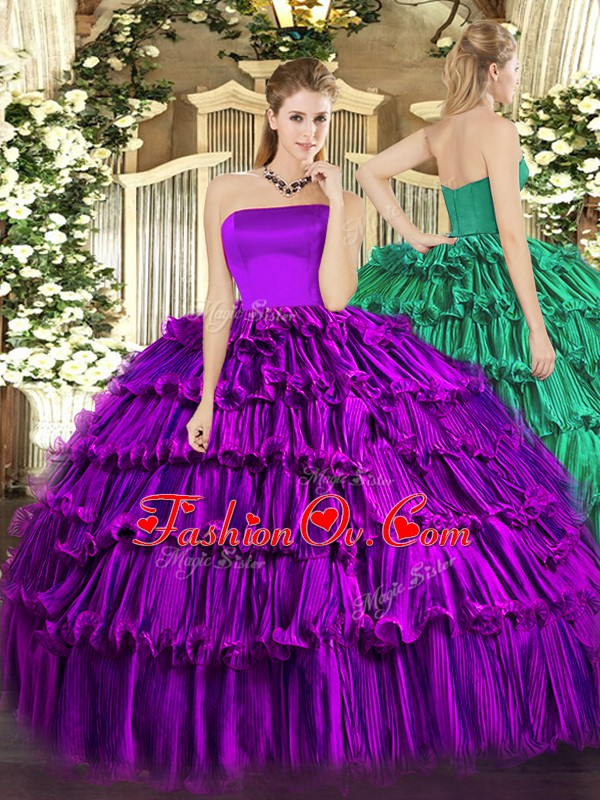 Elegant Purple Ball Gowns Organza Strapless Sleeveless Ruffled Layers Floor Length Zipper Vestidos de Quinceanera