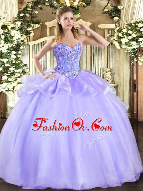 Sexy Lavender Sleeveless Floor Length Embroidery Lace Up Vestidos de Quinceanera