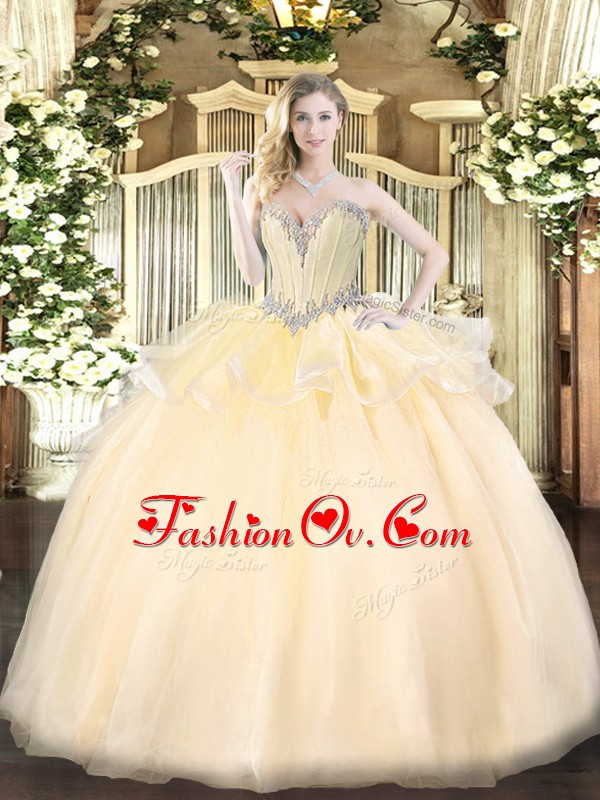 Custom Made Sleeveless Lace Up Floor Length Beading Quinceanera Dresses