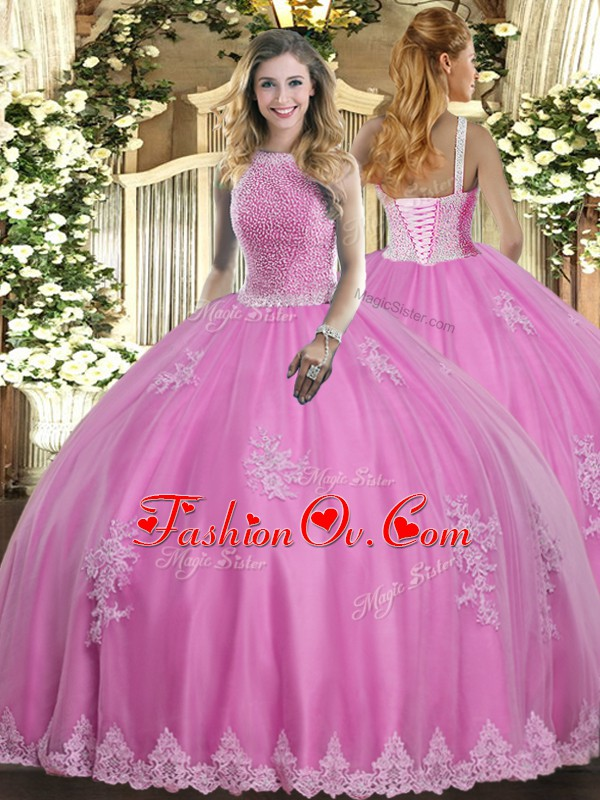 Dazzling Rose Pink Ball Gowns Beading and Appliques Sweet 16 Quinceanera Dress Lace Up Tulle Sleeveless Floor Length