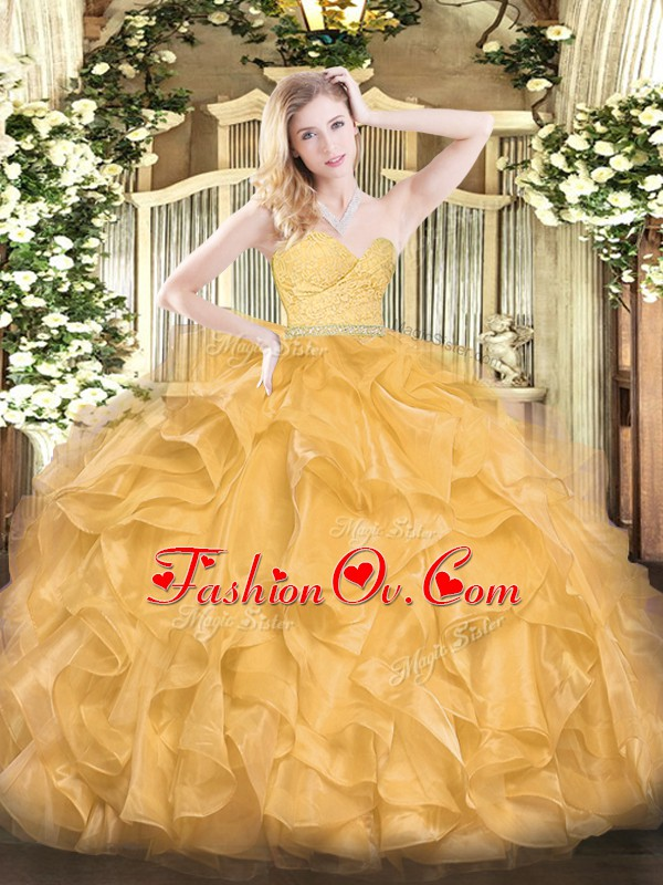 Flare Gold Sleeveless Beading and Lace and Ruffles Floor Length Vestidos de Quinceanera