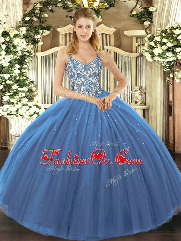 Navy Blue Sleeveless Tulle Lace Up Quinceanera Dresses for Sweet 16 and Quinceanera