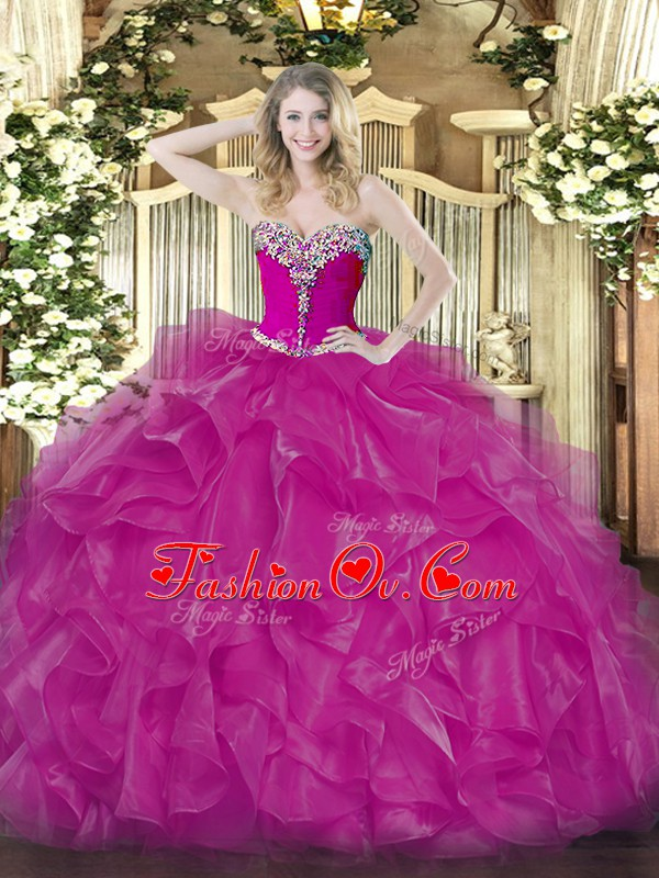 Floor Length Ball Gowns Sleeveless Fuchsia 15th Birthday Dress Lace Up