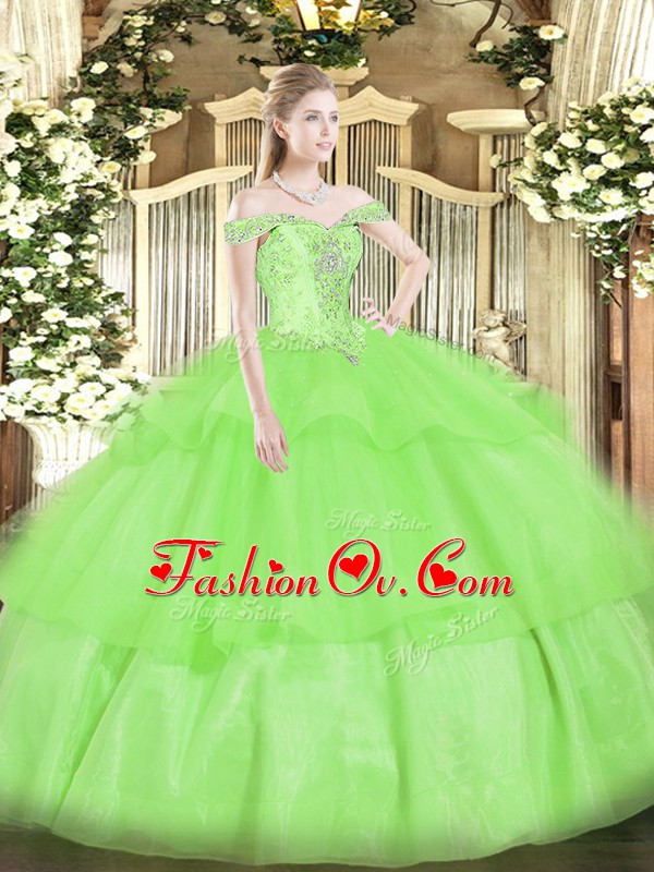 Most Popular Floor Length Lace Up 15 Quinceanera Dress for Military Ball and Sweet 16 and Quinceanera with Beading and Ruffled Layers