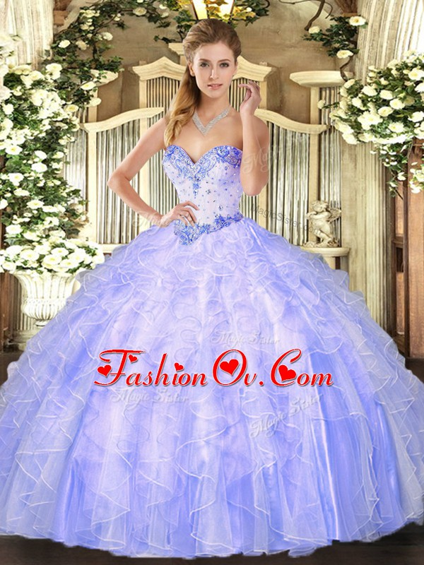 Lavender Sleeveless Floor Length Beading and Ruffles Lace Up Quinceanera Dress