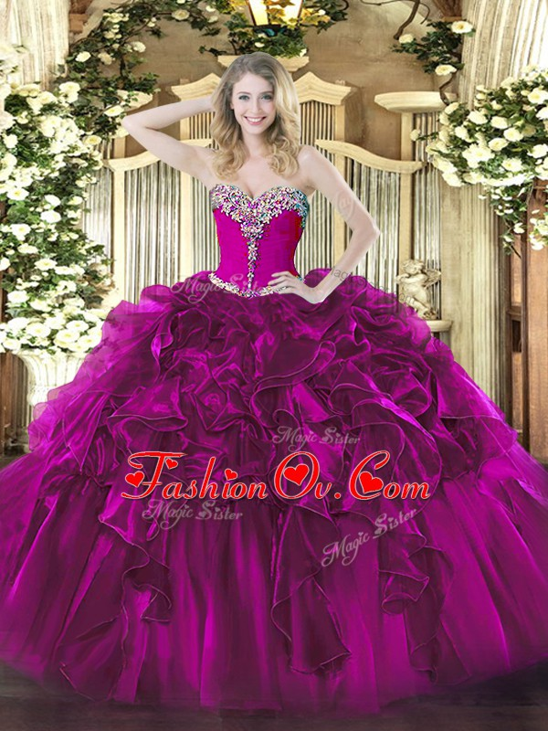 Custom Designed Sleeveless Beading and Ruffles Lace Up Sweet 16 Quinceanera Dress