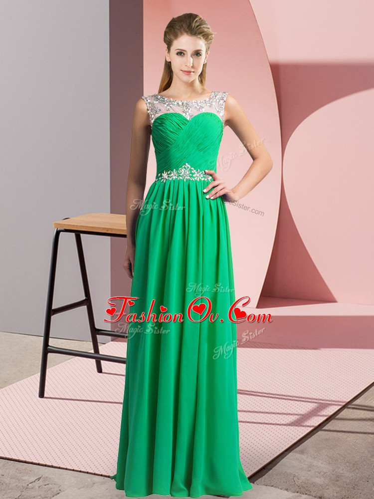 High Quality Green Sleeveless Chiffon Clasp Handle for Prom and Party