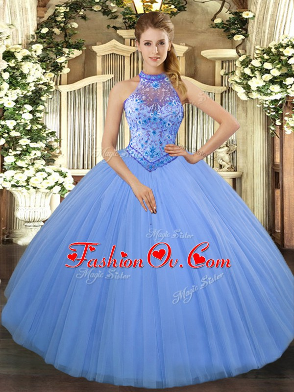 Chic Baby Blue Tulle Lace Up Halter Top Sleeveless Floor Length Sweet 16 Dress Beading and Embroidery