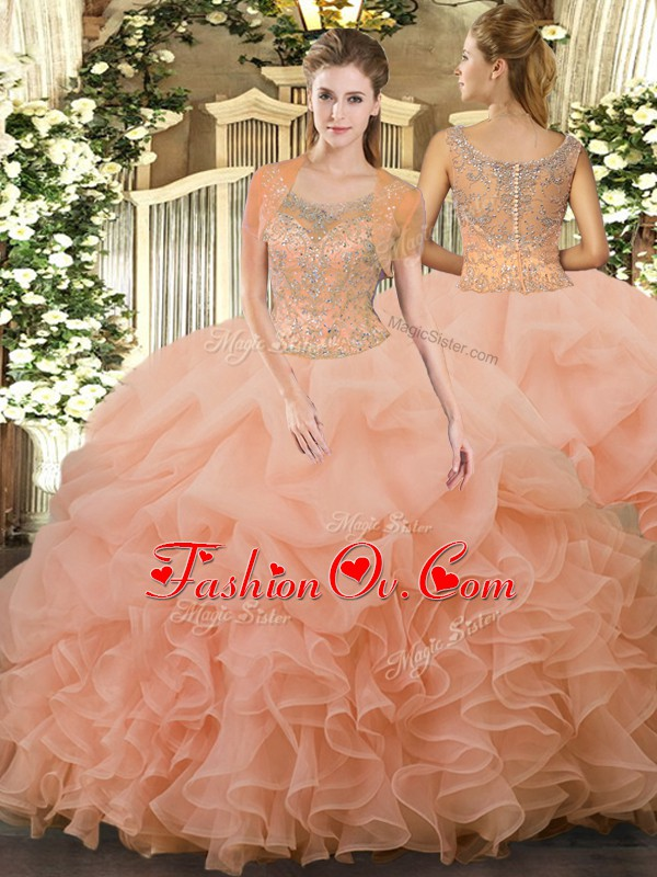 Peach Ball Gowns Scoop Sleeveless Tulle Floor Length Clasp Handle Beading and Ruffled Layers 15th Birthday Dress