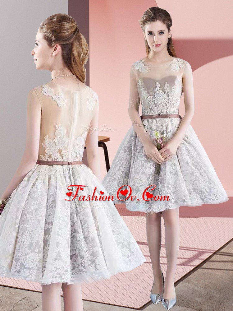 White Homecoming Dress Prom and Party with Appliques and Belt Scoop Sleeveless Zipper