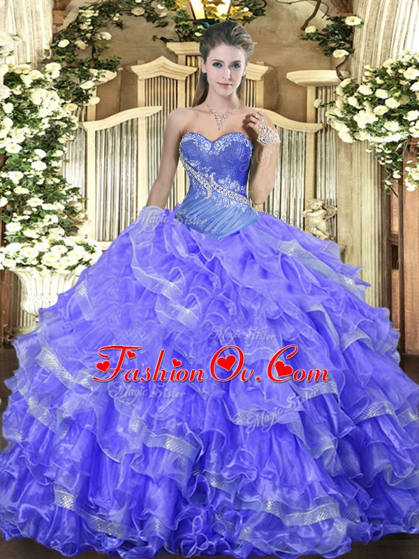Floor Length Blue 15th Birthday Dress Organza Sleeveless Beading and Ruffled Layers