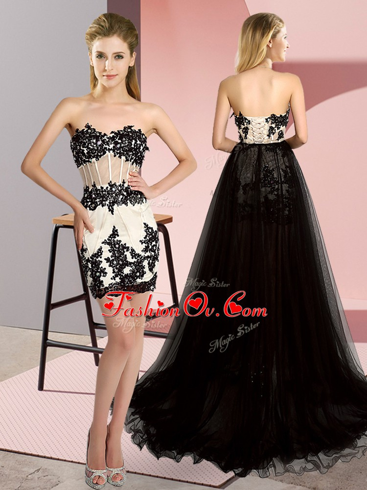 Sleeveless Tulle High Low Sweep Train Lace Up Prom Gown in White And Black with Embroidery