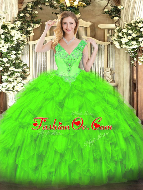 Organza V-neck Sleeveless Lace Up Beading and Ruffles Quince Ball Gowns in