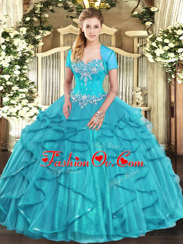 Custom Made Aqua Blue Ball Gowns Beading and Ruffles Quinceanera Dress Lace Up Tulle Sleeveless Floor Length