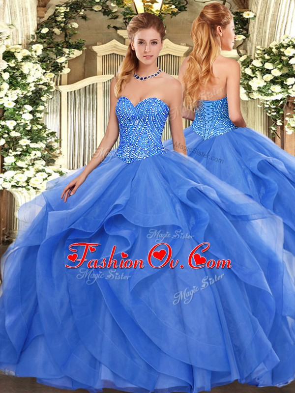 Most Popular Sweetheart Sleeveless Tulle Quinceanera Dress Beading and Ruffles Lace Up
