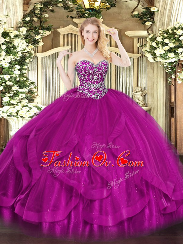 Fuchsia Sleeveless Tulle Lace Up Vestidos de Quinceanera for Military Ball and Sweet 16 and Quinceanera