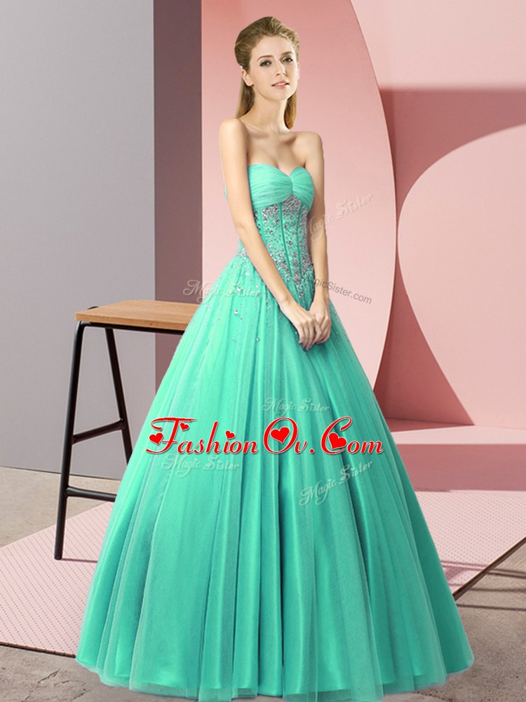 Colorful A-line Prom Evening Gown Turquoise Sweetheart Tulle Sleeveless Floor Length Lace Up