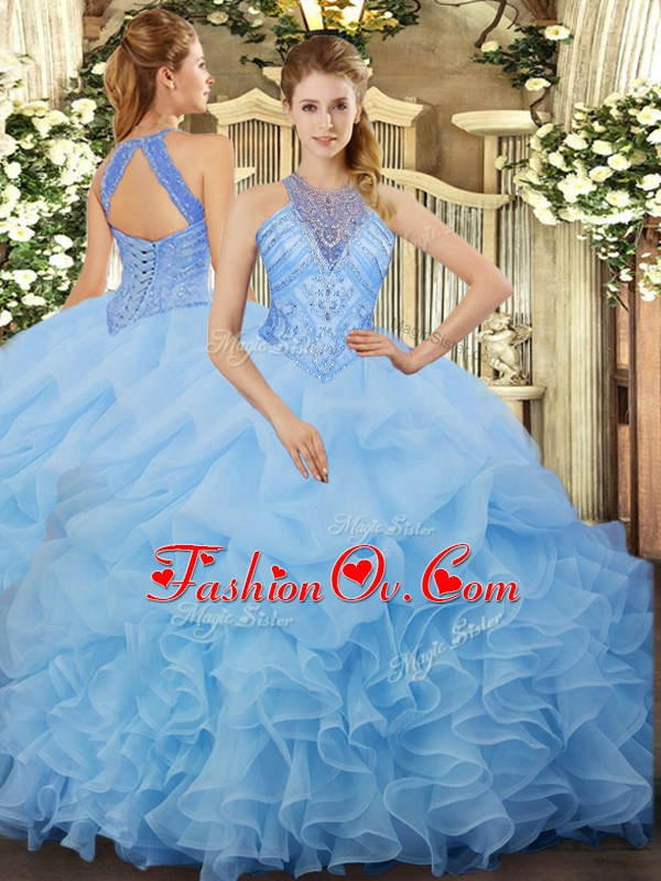 Suitable Aqua Blue Halter Top Neckline Beading and Ruffles and Pick Ups Ball Gown Prom Dress Sleeveless Lace Up