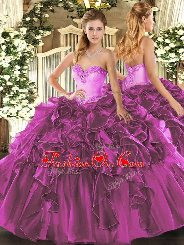 Sweetheart Sleeveless Organza Quinceanera Dresses Beading and Ruffles Lace Up