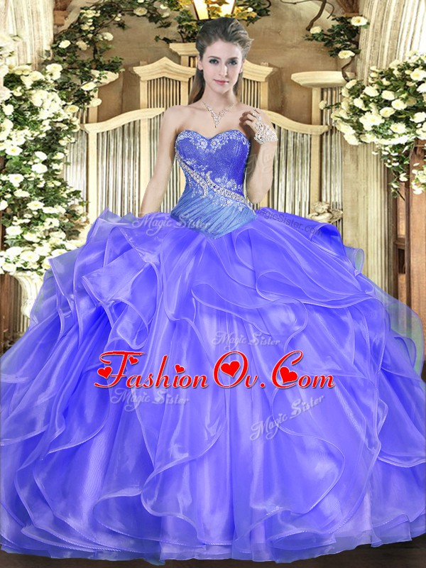Blue Sweetheart Lace Up Beading and Ruffles Sweet 16 Quinceanera Dress Sleeveless
