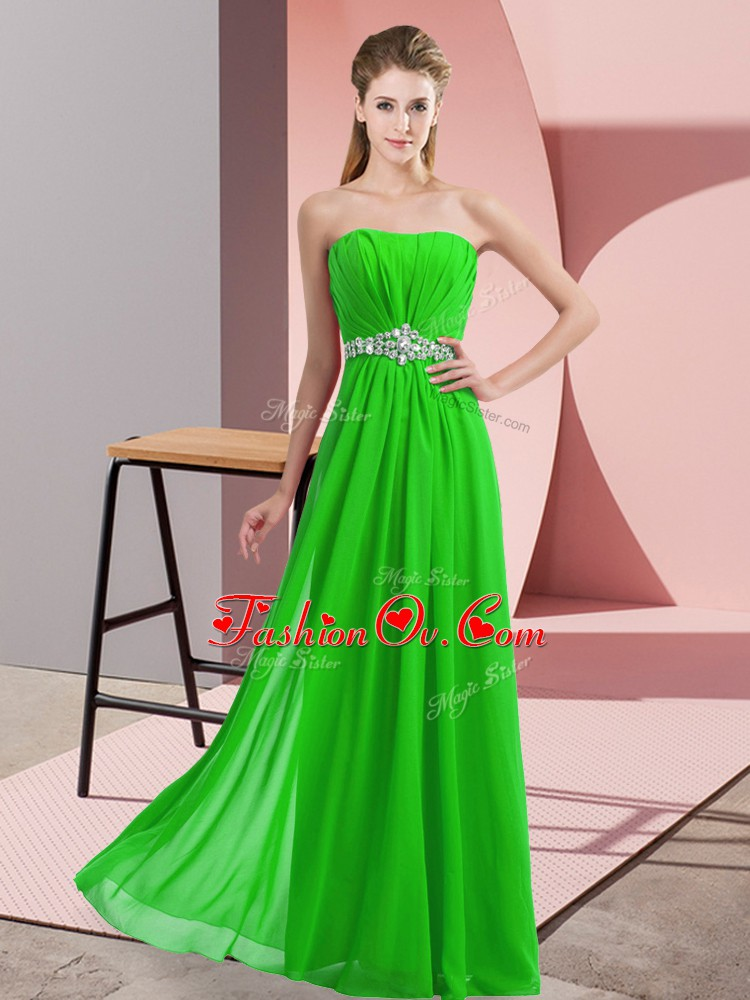 Top Selling Green Empire Strapless Sleeveless Chiffon Floor Length Lace Up Beading Prom Party Dress