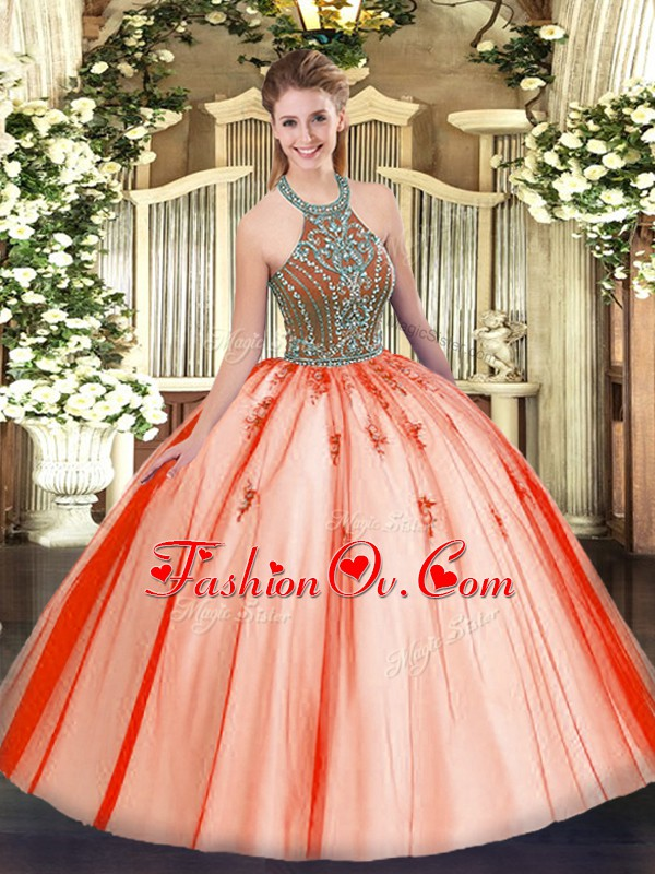 Chic Sleeveless Beading Lace Up Quinceanera Gowns