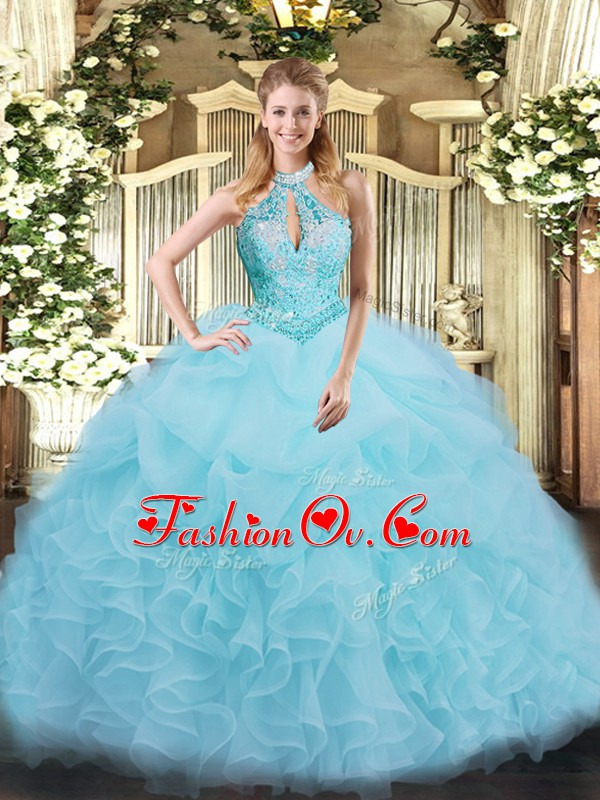 High Class Aqua Blue Lace Up Quinceanera Dress Beading and Ruffles Sleeveless Floor Length