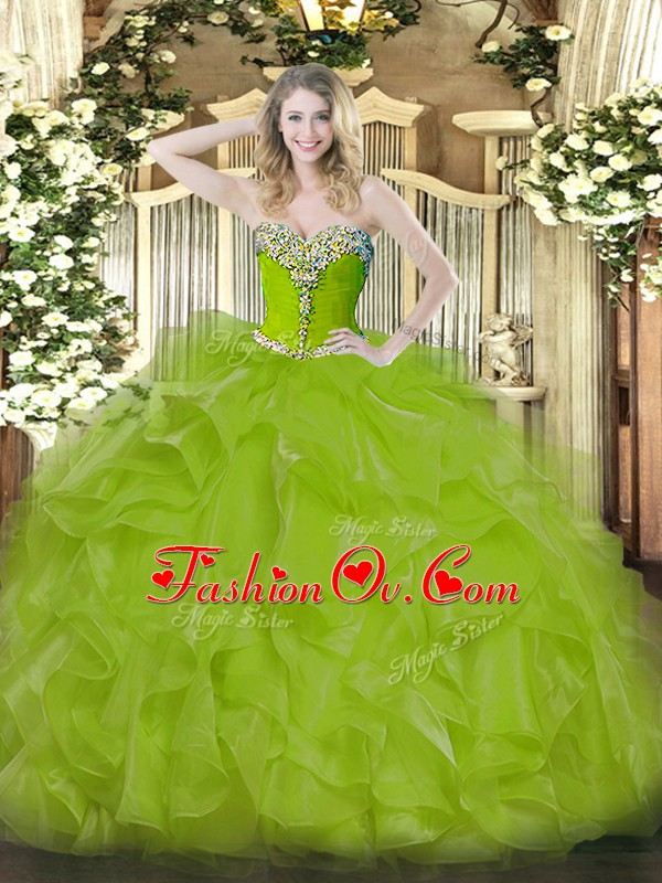 Custom Fit Olive Green Ball Gowns Sweetheart Sleeveless Organza Floor Length Lace Up Beading and Ruffles Quinceanera Dresses