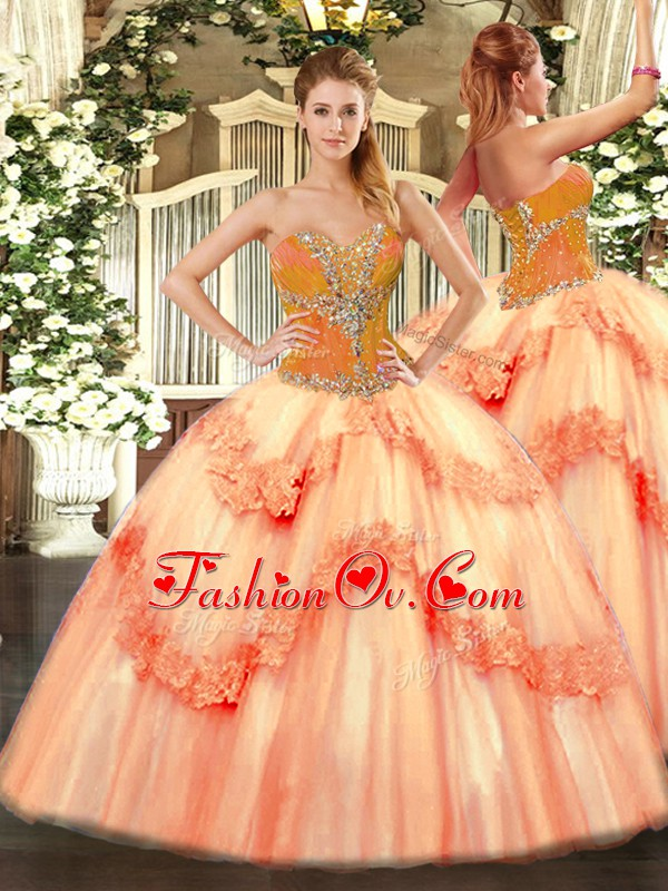 Elegant Sweetheart Sleeveless Lace Up Sweet 16 Dress Peach Tulle